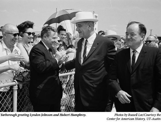 Yarborough greeting Lyndon Johnson and Hubert Humphrey.