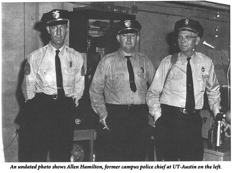Chief Hamilton in an undated photo, with 2 other campus police