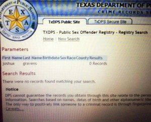 Screen grab of Joshua Gravens' Texas Department of Public Safety record.