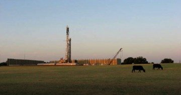 A Chesapeake Energy contractor drills for natural gas northeast of Cleburne.
