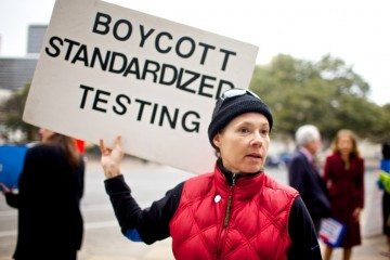 Anti-testing advocate Edy Chamness outside the Capitol in 2013.