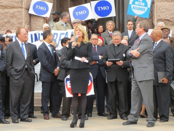 Sen. Wendy Davis (D-Ft. Worth) and other legislators spoke at an interfaith rally on Wednesday in support of Medicaid expansion.
