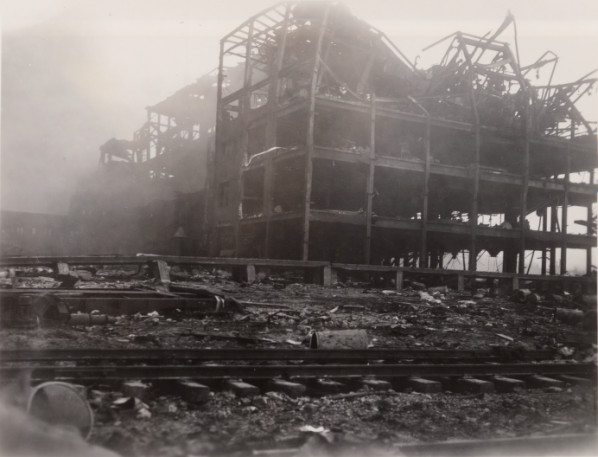 A rubber factory destroyed by the 1947 Texas City disaster.