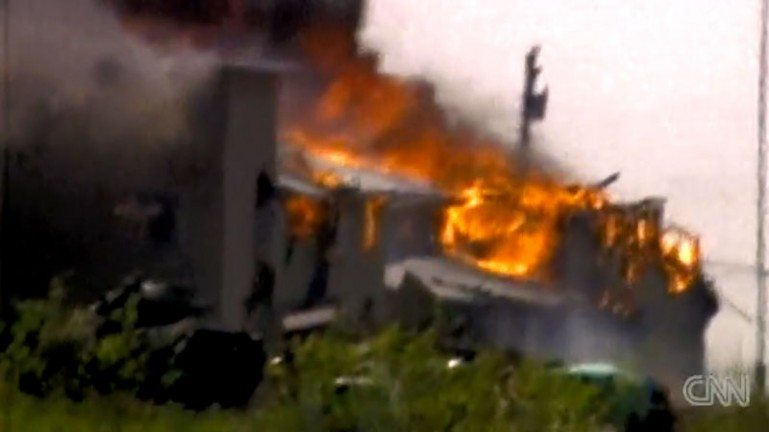 Branch Davidian compound on fire.
