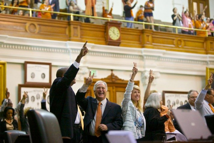 "Wendy Davis, Kirk Watson and other Senate Democrats signal a ""no"" vote during the SB 5 debate."
