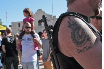 Gun-rights advocates rally at the Alamo.