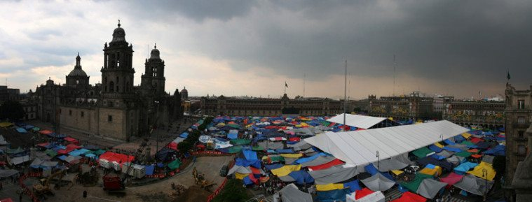 Teachers and protesters camp for weeks in Mexico City's main square, the Zócalo, before federal police clear the area Friday, September 13.