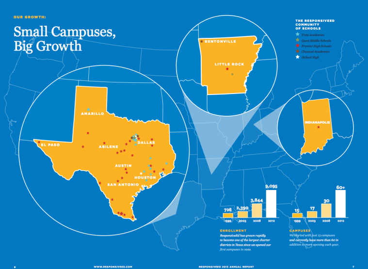 Responsive Education Solutions' campus map, in its 2013 annual report.