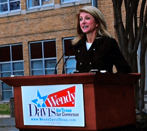 Wendy Davis holds a press conference in front of Austin Community College, Monday, February 10.