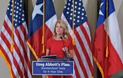 Wendy Davis speaks at a rally in the basement of the Texas State Teacher's Association building in Austin. April 14, 2014.