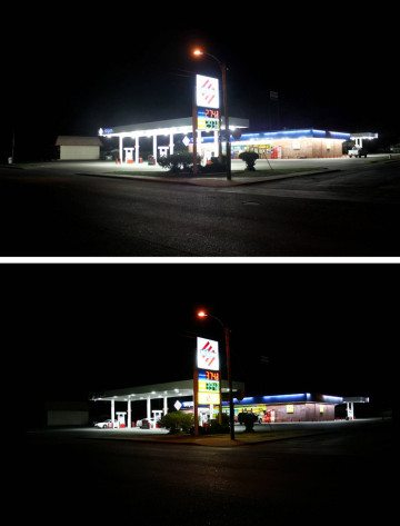 Before (top) and after photos of a Stripes service station in Alpine.