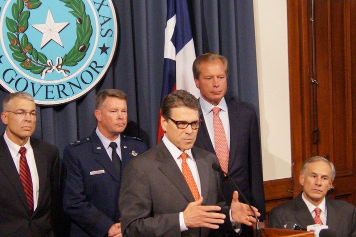 Governor Rick Perry speaks at a press conference announcing the deployment of the National Guard to the Rio Grande Valley.