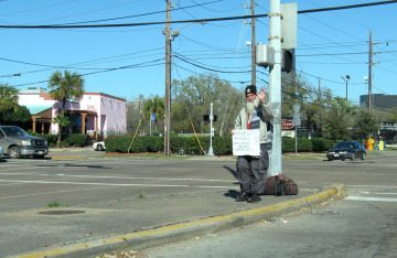 A panhandler in Houston