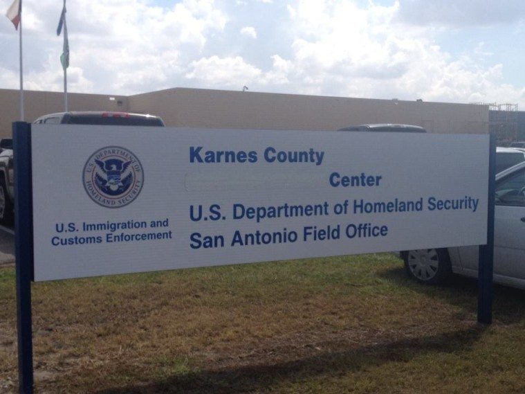 """Karnes County Residential Center photographed in 2014, during its change of name from a """"Civil Detention  Center"""" to a """"Residential Center."""""""