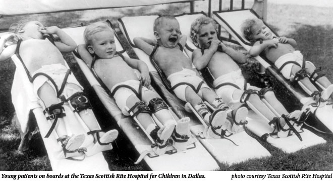 Young patients on boards at the Texas Scottish Rite Hospital for Children in Dallas.