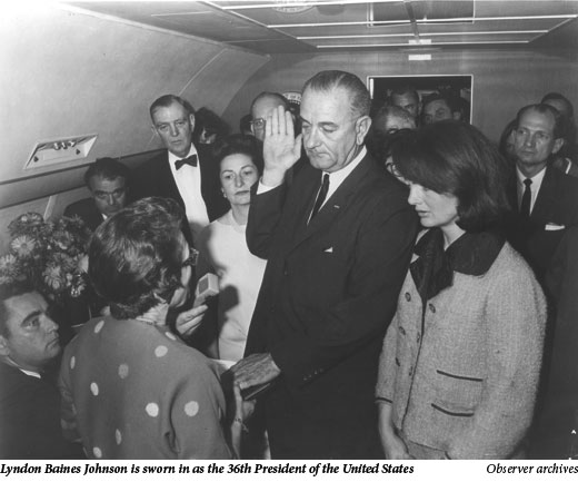 Lyndon Baines Johnson is sworn in as the 36th President of the United States