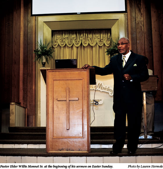 Pastor Elder Willie Monnet Sr. at the beginning of his sermon on Easter Sunday.