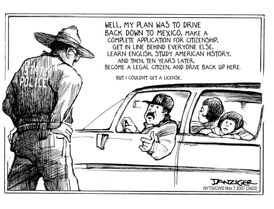 Danziger cartoon about immigration