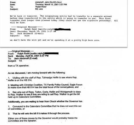 E-Mails correspondence between Abramoff and Reed