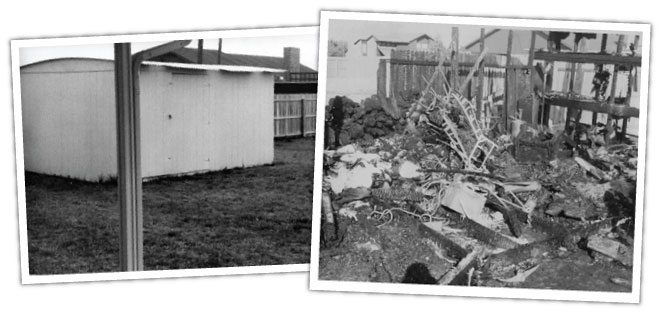 The backyard shed, before and after the fire that killed Joby and Jason Graf.
