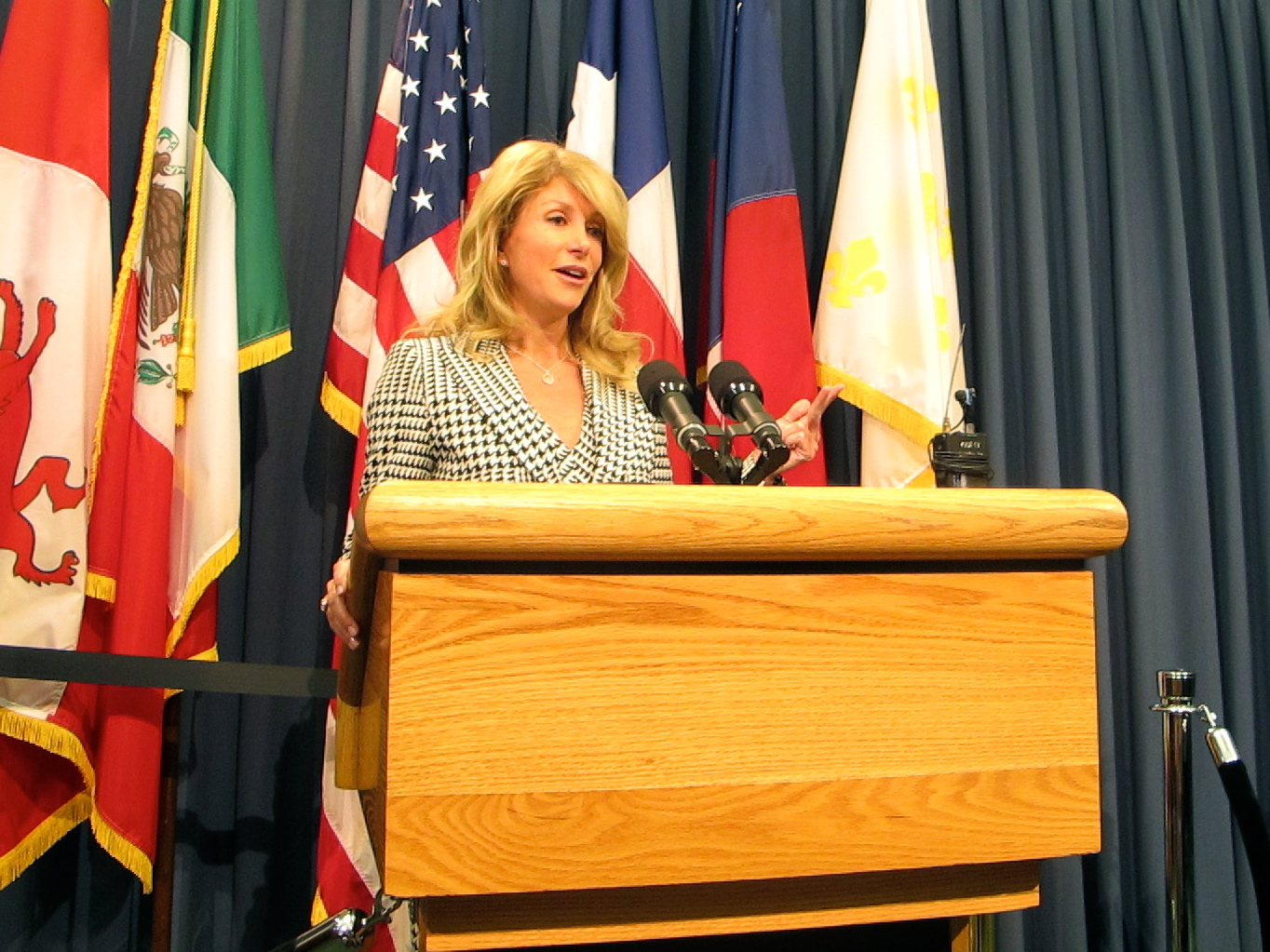 Sen. Wendy Davis spoke at a press conference on Tuesday morning.