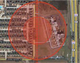 Potential impact radius for two pipelines along Old Denton Road in Fort Worth.