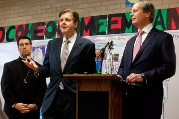 Sen. Dan Patrick (R-Houston), center, with Lt. Gov. David Dewhurst in December.