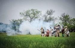 Reenactors skirmish outside Presidio La Bahia near Goliad