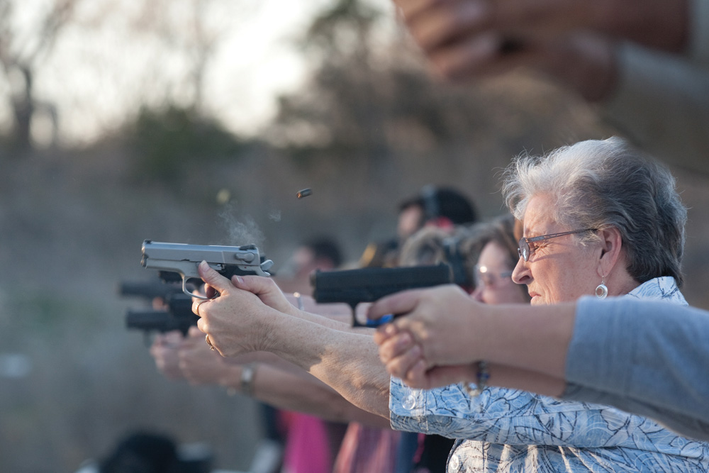 Up In ArmsCarolyn Billington shoots a 9mm Smith & Wesson during a concealed handgun training class offered to teachers and staff of Clifton Independent School District in Clifton, Texas. She is a receptionist at Clifton Elementary School.