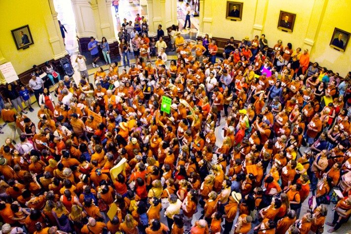 Opponents of the anti-abortion bills in the Capitol rotunda Sunday night.
