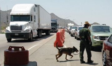 Drug-sniffing dogs are a staple of the Sierra Blanca Border Patrol station. Agents check all eastbound traffic 