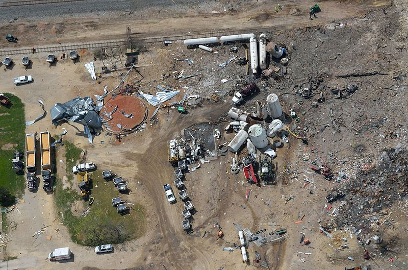 Aerial photo of the West explosion site taken several days after blast.