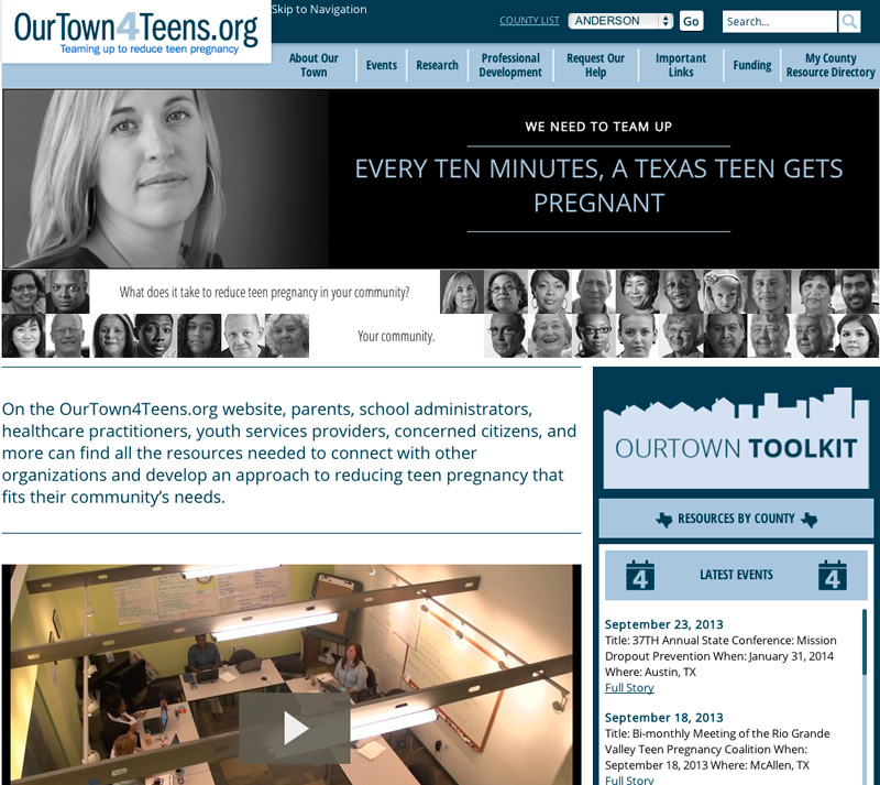 Screen capture of ourtown4teens.org.