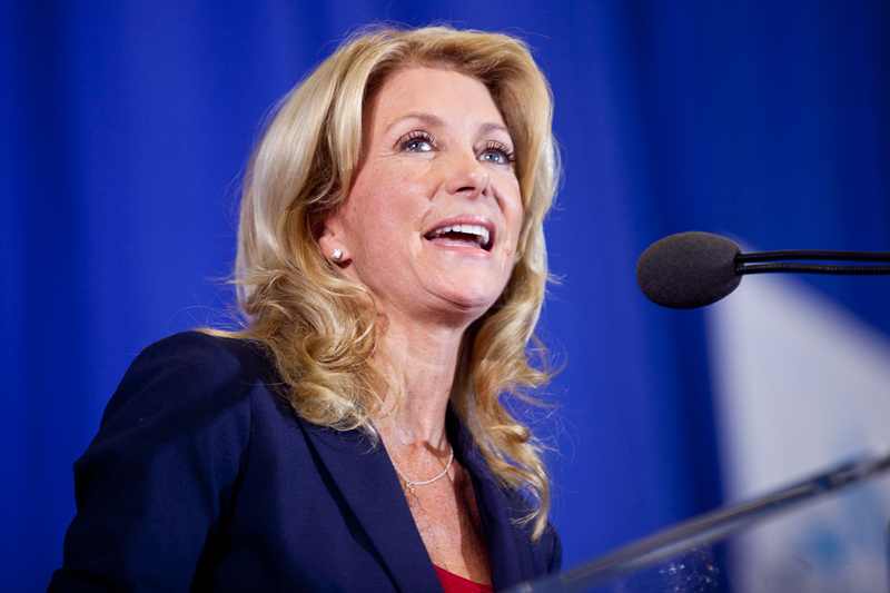 Wendy Davis speaks at her gubernatorial campaign announcement October 3 in Haltom City.