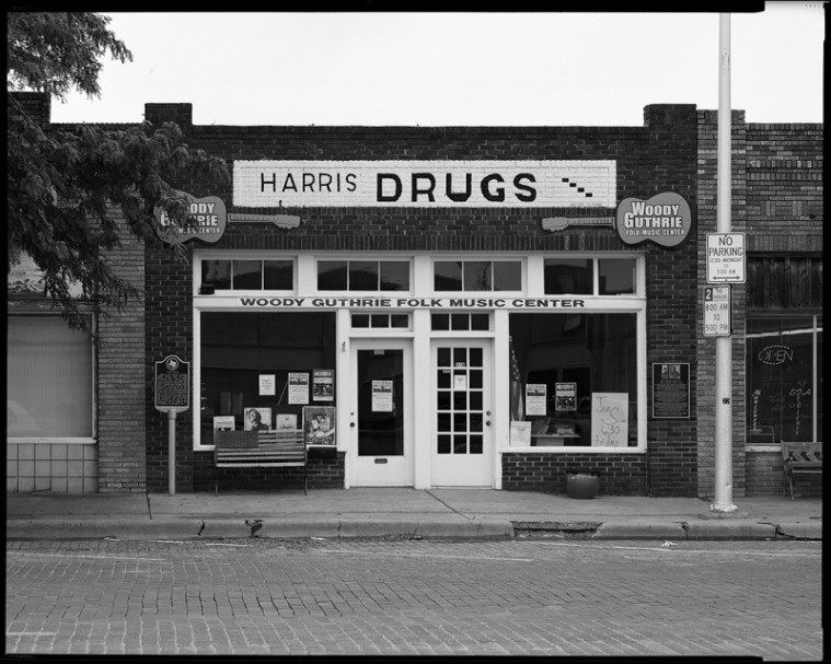 Harris Drugs on Cuyler Street in Pampa, home to the Woody Guthrie Folk Music Center, where open jams begin each Friday at 6:30 p.m.