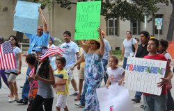 Immigrants marching for immigration reform in Austin.