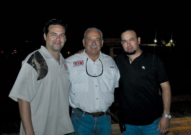 Hidalgo County Sheriff Lupe Treviño and his sons Juan Carlos (left) and Jonathan.