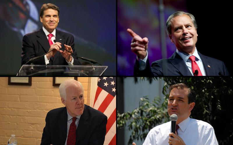 Clockwise from top left: Gov. Rick Perry, Lt. Gov. David Dewhurst, Sen. Ted Cruz, Sen. John Cornyn