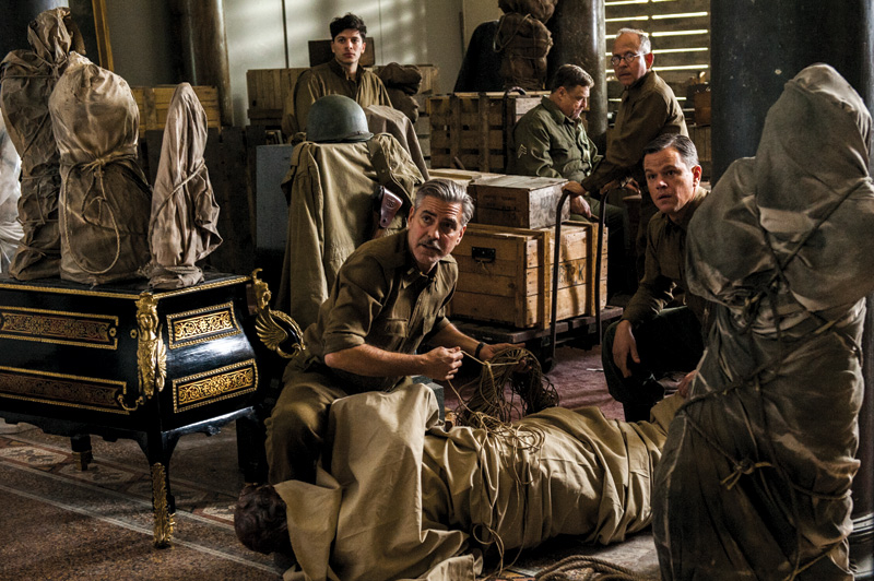From left to right, Sam Epstein, George Clooney, John Goodman, Bob Balaban and Matt Damon in <I></noscript>The Monuments Men</i>.