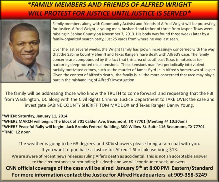 Flyer advertising Saturday's rally calling for Justice for Alfred Wright