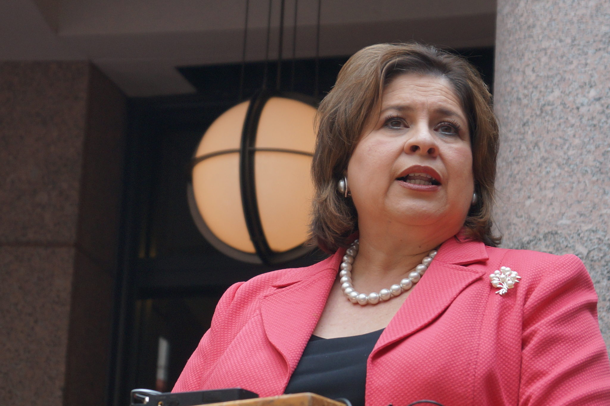 Leticia Van De Putte speaks at the Texas' capitol's outdoor rotunda at a press conference on the state's women's health programs, February 20, 2014.