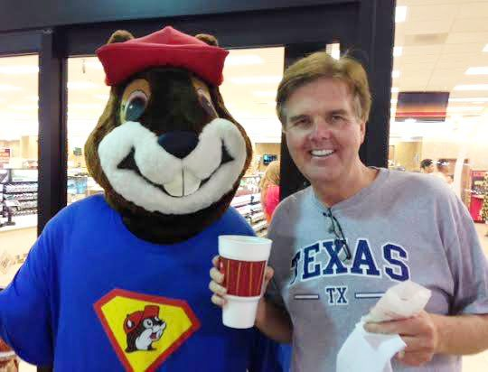 Dan Patrick and the Buc-ee's beaver, standing vigilant