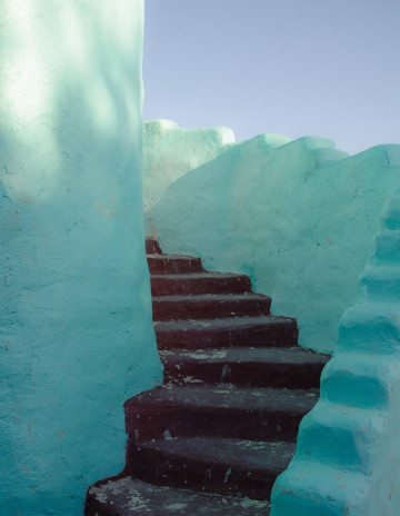 A papercrete staircase at Eve's Garden.