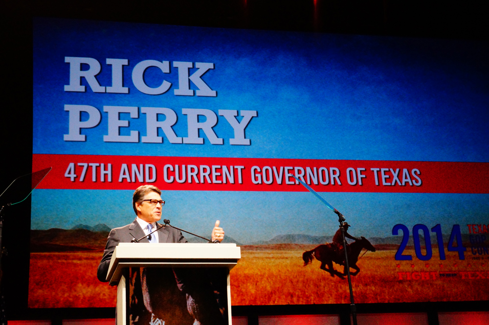 Gov. Rick Perry addresses the Republican state convention in Fort Worth. June 5, 2014.