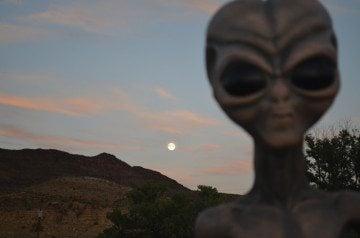 Presidio's resident alien mannequin, E.B.E., enjoys a West Texas sunset.