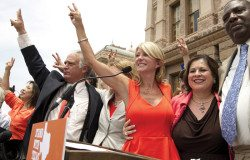Democratic state Sens. Kirk Watson, Wendy Davis, Leticia Van de Putte and Royce West at an abortion- rights rally at the Texas Capitol in July 2013.