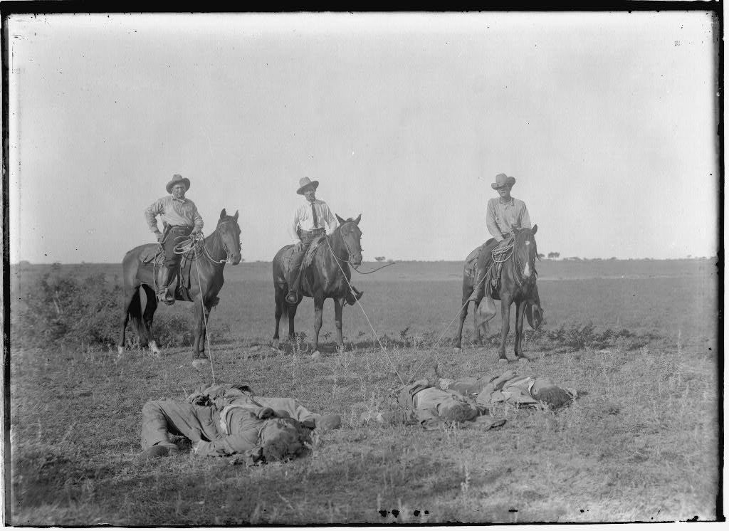 "Texas Rangers pose on a South Texas ranch in 1915 after one of their notorious ""bandit raids."""