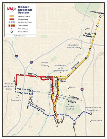 "A map of the proposed route for the San Antonio's ""Modern Streetcar"" project."