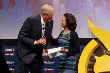 David Koch grants the 2014 George Washington award, the organization's highest honor, to a New Jersey activist.