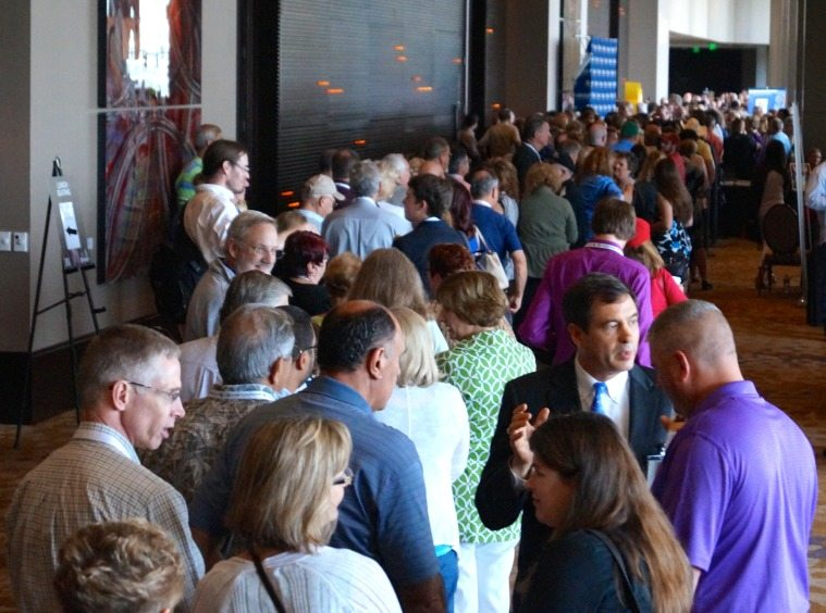 Summit attendees lined up by the hundreds to get good seats in advance of Ted Cruz' speech.